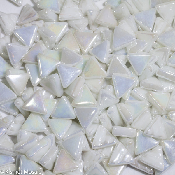 740-i - Zinc White Triangle, TriangleIrid tile - Kismet Mosaic - mosaic supplies