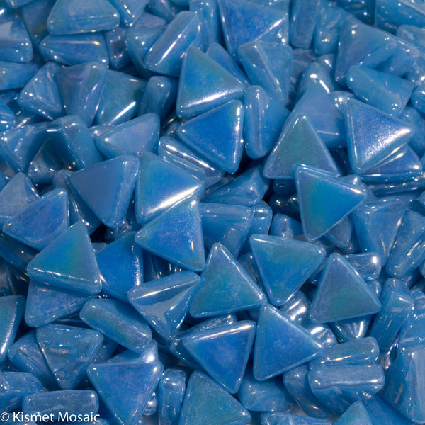 765-i - Surf Blue Triangle, TriangleIrid tile - Kismet Mosaic - mosaic supplies