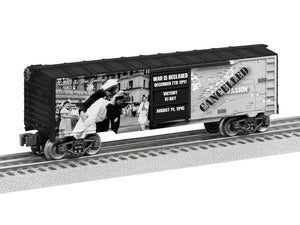 "Lionel 1938210 - U.S. Army Boxcar ""Kiss the War Goodbye"""