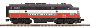 "MTH 20-20767-1 - F-3 A Unit Diesel Engine ""Western Maryland"" w/ PS3 (Hi-Rail Wheels)"