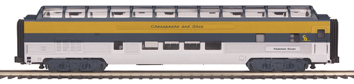 "MTH 20-64008 - 70' Streamlined Full Length Vista Dome Passenger Car ""Chesapeake & Ohio"" (Smooth Sided)"