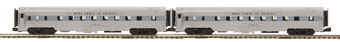 MTH 20-64087 General Electric 2-Car 70' Streamlined Sleeper/Sleeper Passenger Set (Ribbed Sided)