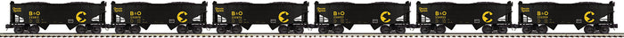"MTH 20-92195 - 2-Bay Offset Hopper Car Set ""Chessie"" (6-Car) - Set #1"