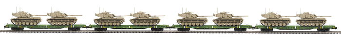 "MTH 20-92286 - 60' Flat Car ""U.S. Army"" w/ (2) M60 Tanks (4-Car) - Set #2 - Desert"