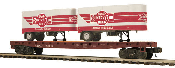 "MTH 20-95125 - Flat Car ""Goetz Country Club Beer"" w/ (2) PUP Trailers"