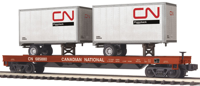 "MTH 20-95166 - Flat Car ""Canadian National"" w/ (2) 20' Trailers"