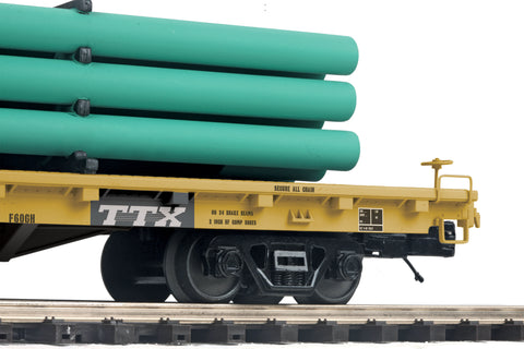 "MTH 20-95287 - 60' Flat Car ""TTX"" w/ Pipe Load (Green)"