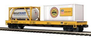 "MTH 20-95295 - Flat Car ""Union Pacific"" w/ Tank Container & 20' Container"