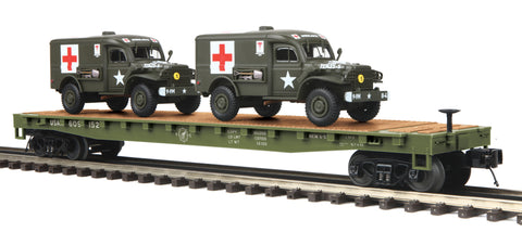 "MTH 20-95302 - Flat Car ""U.S. Army"" w/ (2) Dodge WC54 Ambulances"