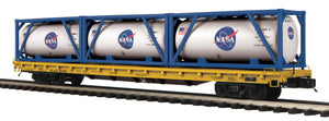 "MTH 20-95334 - 60' Flat Car ""NASA"" w/ (3) Tank Containers"