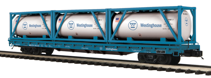 "MTH 20-95335 - 60' Flat Car ""Westinghouse"" w/ (3) Tank Containers"