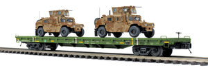 "MTH 20-95463 - 60' Flat Car ""U.S. Army"" w/ (2) Humvee Vehicles"