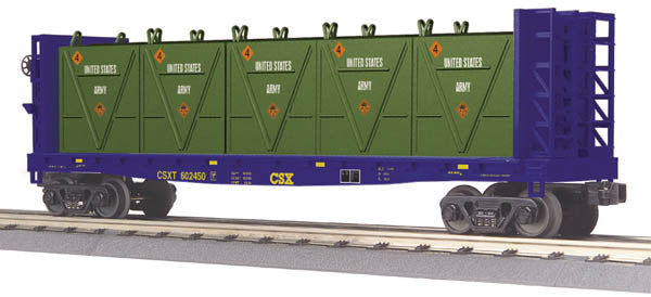 "MTH 30-76602 - Flat Car ""CSX"" w/ Bulkheads & LCL Containers"