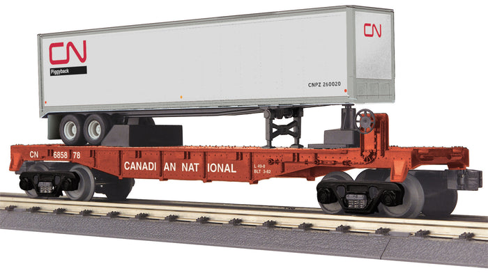 "MTH 30-76632 - Flat Car ""Canadian National"" w/ 40' Trailer"