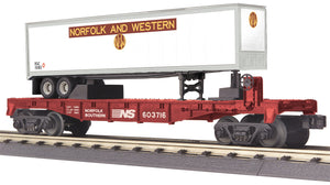 "MTH 30-76660 - Flat Car ""Norfolk Southern"" w/ 40' Trailer"