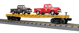 "MTH 30-76670 - Flat Car ""Union Pacific"" w/ (2) '53 Ford Pickup Trucks"