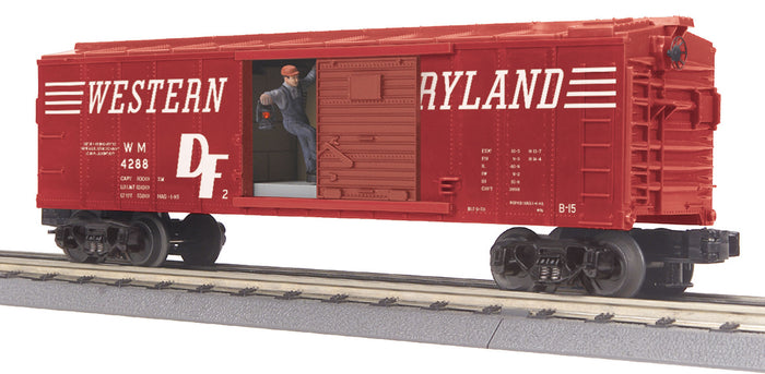 "MTH 30-79517 - Operating Box Car ""Western Maryland"" w/ Signal Man"