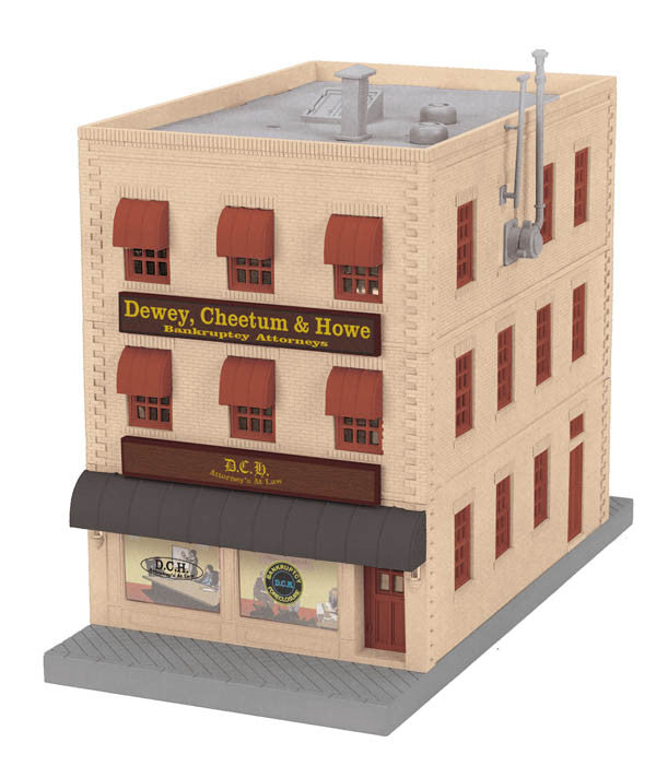 "MTH 30-90154 - 3-Story City Building ""Dewey, Cheetum & Howe"" w/ Fire Escape & Blinking Sign"
