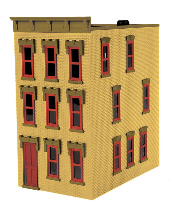 "MTH 30-90377 - 3-Story Town House Yellow w/ Red Shutters ""Dusty Yellow Brick"""
