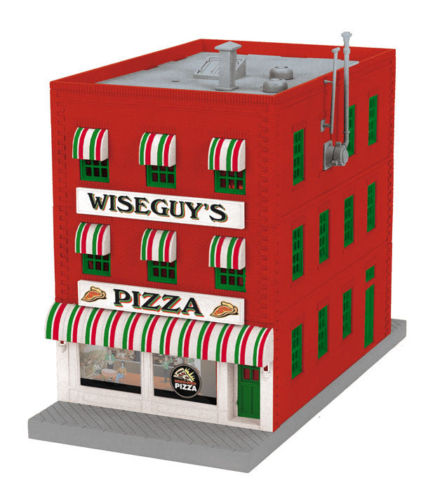 "MTH 30-90438 - 3- Story City Building ""Wiseguy's Pizaa"" w/ Fire Escape & Blinking Sign"