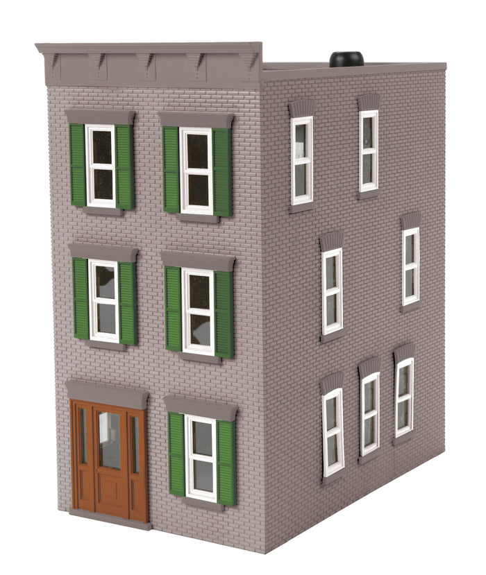 MTH 30-90507 - 3-Story Town House Gray w/ Green Shutters