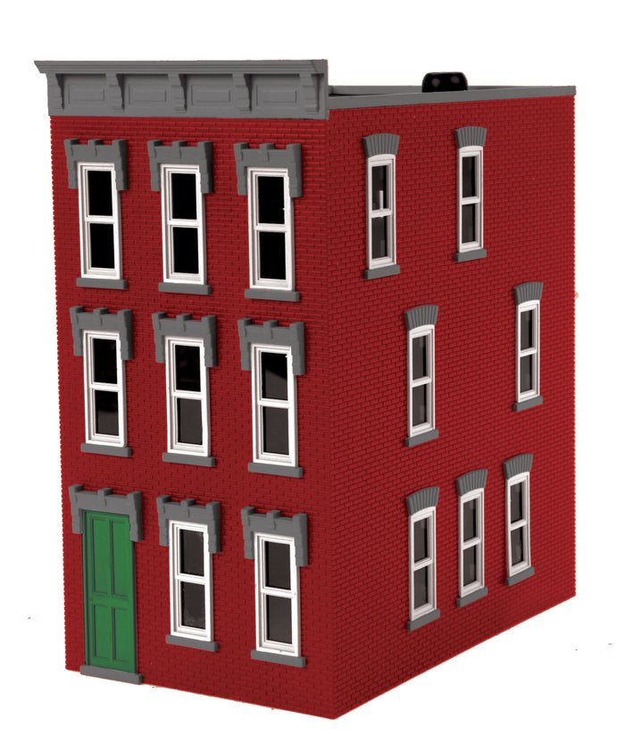 MTH 30-90509 - 3-Story Town House Red w/ Gray Trim