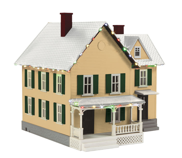 MTH 30-90547 - #6 Farm House w/ Operating Christmas Lights (Yellow Tan & Dark Green)
