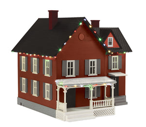 MTH 30-90548 - #6 Farm House w/ Operating Christmas Lights (Brick & Gray)