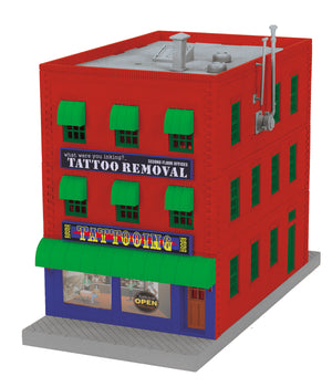 "MTH 30-90566 - 3-Story City Building ""What were you inking - Tattoo Removal"" w/ Fire Escape & Blinking Sign"