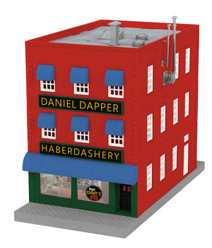 "MTH 30-90567 - 3-Story City Building ""Dapper Dan's Haberdashery"" w/ Fire Escape & Blinking Sign"