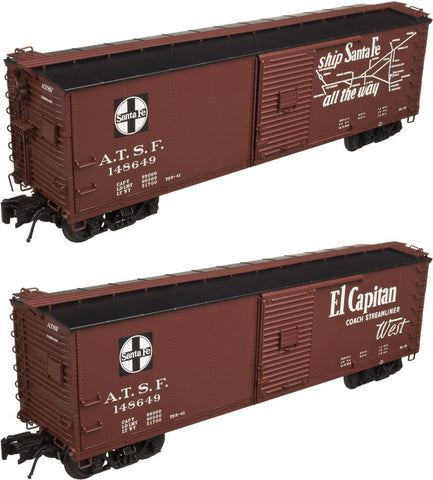 "Atlas O 3001616 - USRA Steel Rebuilt Box Cars ""Santa Fe"" (4 Pack)"