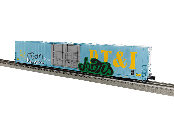 "Lionel 1926024 - 86' 4 Door High Cube Boxcar ""DT&I"" #26384  (blue w/ graffiti)"