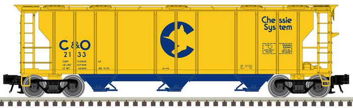 "Atlas O 2002568 - Trainman - 3-Bay PS-2 Covered Hopper ""Chessie System C&O"" (2-Rail)"