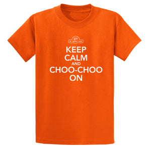 "T-Shirt - ""Keep Calm and Choo-Choo On"" Youth (Orange)"