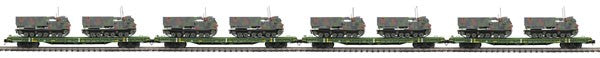 "MTH 20-92279 - 60' Flat Car Set ""U.S. Army"" w/ (2) M270 Rocket Launcher Vehicles (4-Car) Set #1"