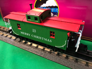 "MTH 20-91636 - N-6b Caboose ""Christmas"" w/ Operating Signal Man"