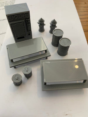 Mixed 3D Printed O Gauge Accessory Pack - we will ship these cheapest way we can and refund the overage