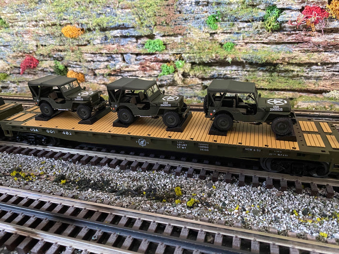 "MTH 20-92238 - Flat Car Set ""U.S. Army"" w/ (3) Miltary Transport Vehicles (4-Car) Set #1"