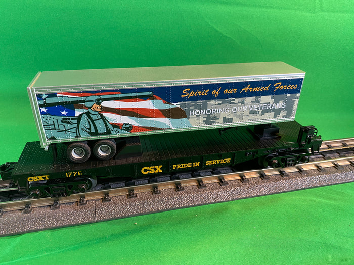 "MTH 30-76833 - Flat Car ""CSX""  (Veterans) w/ 40' Trailer"