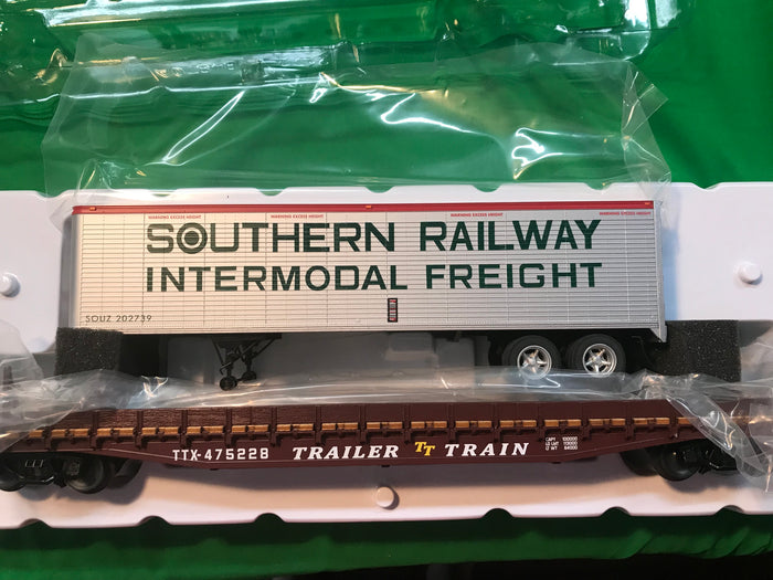 "Lionel 6-84874 - PS-4 50' Flat Car ""Trailer Train / Southern"" w/ 40' Trailer #475227 / 202601"