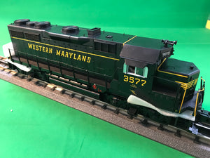 "MTH 20-20980-1 - GP-35 Low Hood Diesel Engine ""Western Maryland"" #3577 w/ PS3 (Hi-Rail Wheels)"