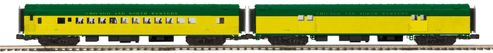 "MTH 20-64145 - 70' Streamlined Baggage/Coach Passenger Set ""Chicago & North Western"" (Smooth Sided) 2-Car"