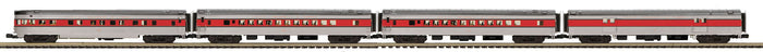 MTH 20-64153 Gulf Mobile & Ohio 4-Car 70' Streamlined Passenger Set  (Smooth Sided)