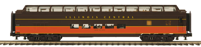 MTH 20-64161 Illinois Central 70' Streamlined Full Length Vista Dome Passenger Cars (Smooth Sided)