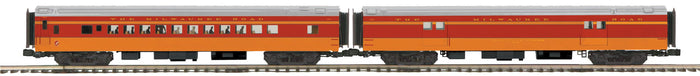 MTH 20-64165 Milwaukee Road 2-Car 70' Streamlined Baggage/Coach Passenger Set (Smooth Sided)