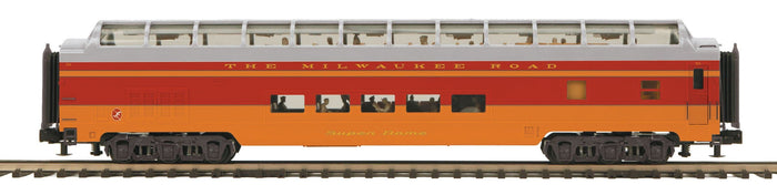 MTH 20-64166 Milwaukee Road 70' Streamlined Full Length Vista Dome Passenger Cars (Smooth Sided)