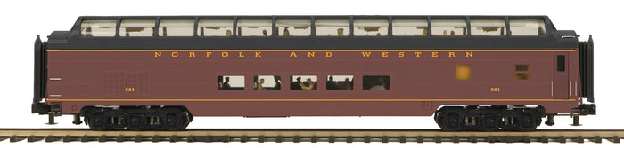 MTH 20-64176 Norfolk & Western 70' Streamlined Full Length Vista Dome Passenger Cars (Smooth Sided)