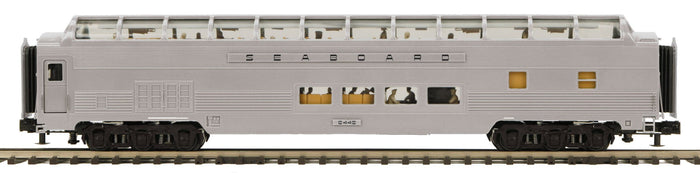 MTH 20-64191 Seaboard 70' Streamlined Full Length Vista Dome Passenger Cars (Ribbed Sided)