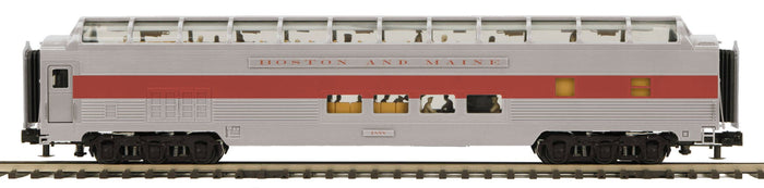 MTH 20-64196 Boston & Maine 70' Streamlined Full Length Vista Dome Passenger Cars (Ribbed Sided)