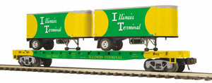 "MTH 20-95381 - Flat Car ""Illinois Terminal"" w/ (2) PUP Trailers"